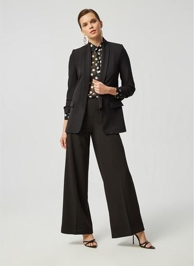Monamoda Kolu Büzgülü Astarlı Boyfriend Blazer Ceket Siyah